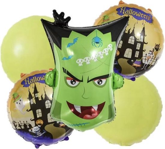 Frankenstein-Halloween-Folie-Ballonnen-Set(5stuks)