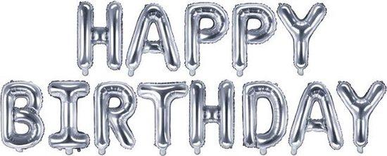 Happy Birthday Folie ballon Zilver Slinger Feestversiering Decoratie
