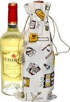 Linnen zakjes 16x37cm | 6 stuk | Bon Voyage | 100% naturel linnenzak | wijnfles zakken wijnverpakking wijntas