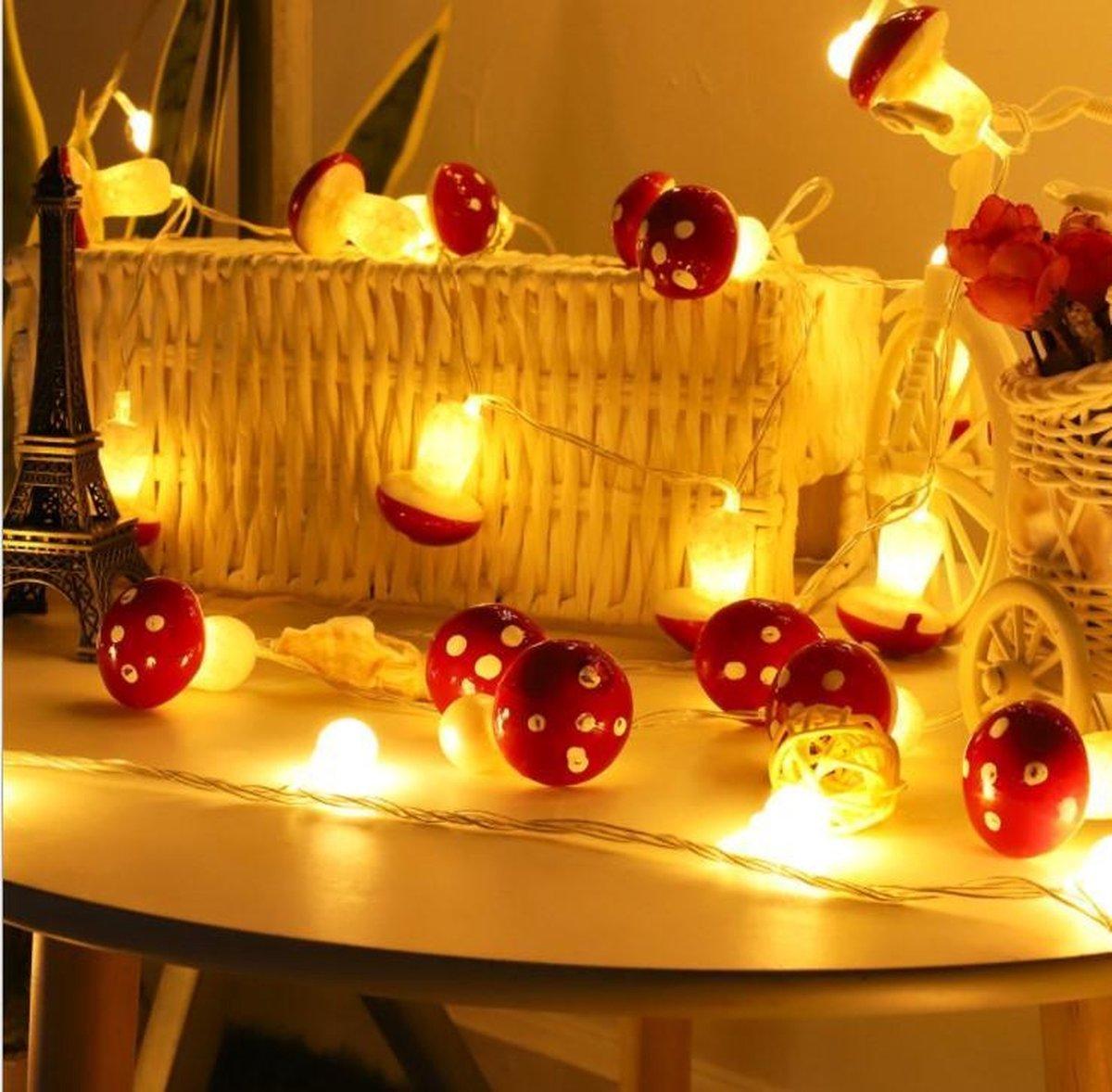 Instalights - Paddestoel LED Slinger Lichtjes - 1 Meter met 10 leuke Paddestoel lichtjes - 2x AA Batterij (niet inbegrepen)  - Herfst Sfeerverlichting - Decoratie lichtjes kopen