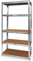 LifeGoods Stellingkast - 5 Legplanken - 175kg per Plank - 90x40x180 cm - Metaal / MDF - RVS