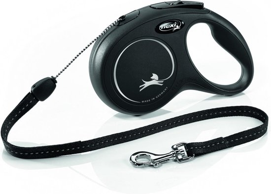 Flexi New Classic Koord - Hondenriem - Zwart - S - 8 m - (<12 kg)