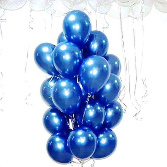 Luxe Chrome Ballonnen Donker Blauw 20 Stuks - Helium Dark Blue Chrome Metallic Ballon Party Feest