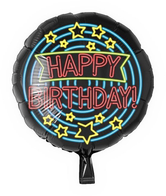 Folieballon - Happy birthday - Neon - 43cm - Zonder vulling
