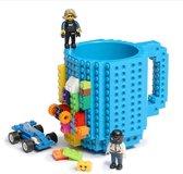 Lego Mok/ Build on Brick Mug - licht blauw - 350 ml - bouw je eigen mok met bouwsteentjes - BPA vrije drinkbeker cadeau voor kinderen of volwassenen - koffie thee limonade of andere dranken - pennenbeker - creatief accessoire voor op bureau -HnD