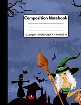 Composition Notebook: Halloween Gifts: Pretty Witch Women and Bats 100 Pages Book for Kids Teens School Students And Teachers (Halloween The