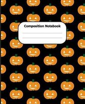 Composition Notebook: Halloween Wide Ruled 7.5 x 9.25 in 100 Pages Composition Book Black Background Pumpkin Pattern