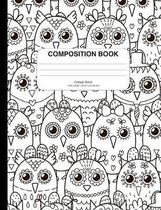 Composition Notebook with Coloring Owls