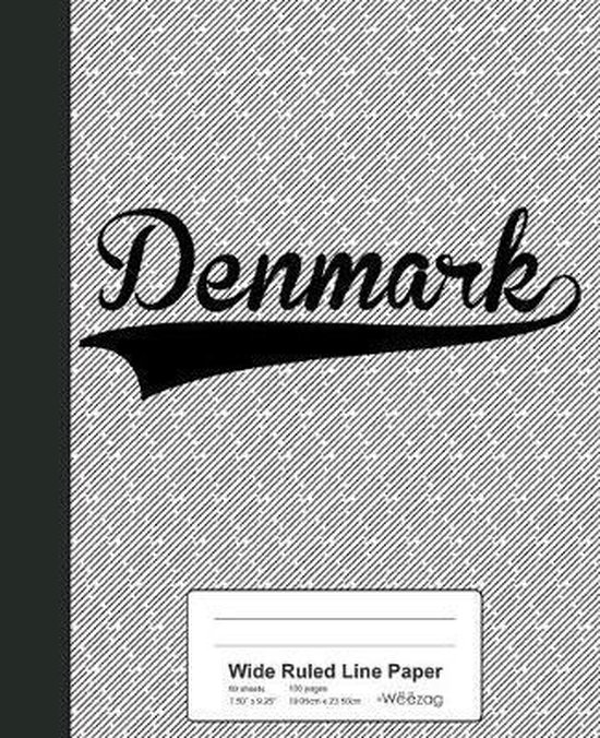 Wide Ruled Line Paper: DENMARK Notebook