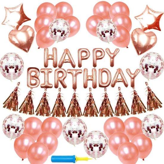 Perow Ballonnen Verjaardag pakket Rose Goud - Verjaardag versiering - ballonnen - confetti - happy birthday - verjaardag meisje