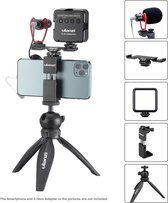 Ulanzi Smartphone vlog KIT EXTRA: mini-statief, telefoonhouder, dual cold shoe-mount, microfoon & LED-lamp