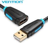 Vention USB 2.0 Verlengkabel - USB Female naar USB Male - 3 Meter - Zwart