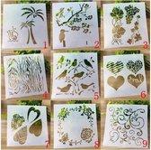Bullet Journal Plastic Stencils - 9 stuks - Templates - Hart - Natuur - Boom - Bladeren - Mix - Sjablonen - 13 x 13 cm - Handlettering toolkit - Knutselen - Decoratie - Accessoires