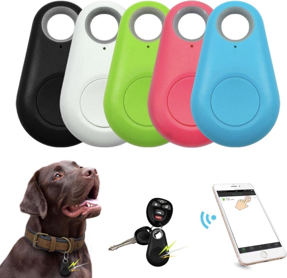 Bluetooth gps tracker - GPS tracker met voicerecorder - Sleutelhanger tracking volg systeem voor kind / hond / kat / bagage inclusief alarmfunctie / sleutelvinder / zwarte