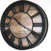 Landelijke Vintage Klok Zwart/Bruin - Ø40CM - Metalen klassieke klok - Metaal/Glas - Tomassio