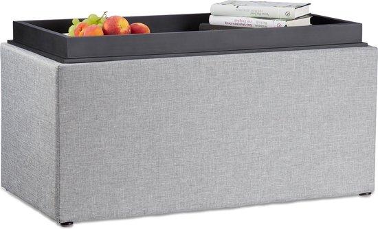 relaxdays stoffen opbergbank - halbank met opslagruimte - zitbank met dienblad - zitkist grijs - Relaxdays