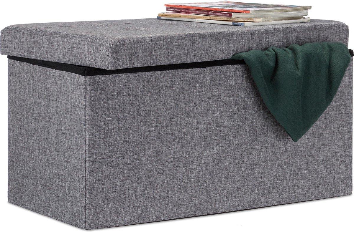relaxdays opvouwbare zitbank - linnen - zitkist met opslagruimte - bank - 38 x 76 x 38 cm donkergrijs - Relaxdays
