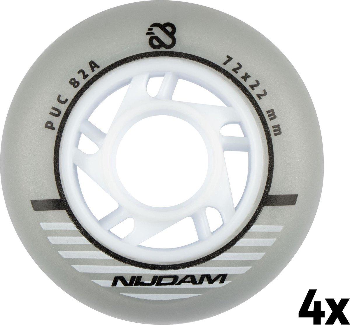 Nijdam Inline Skate Wielen Set - 72x22 mm - 4st - Silver - Zilver/Wit/Zwart
