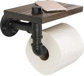 Toiletrolhouder met Telefoonplankje – Toilet Rolhouder Zwart – WC Rolhouder Zwart - Toilet Accessoires – Toiletten – Badkamer Accesoires – Planchet - Telefoonhouder