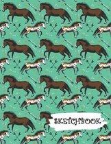 Sketchbook: Horse Lover Western Fun Framed Drawing Paper Notebook