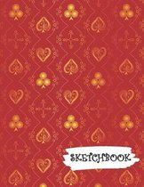 Sketchbook: Red Gold Deck Of Playing Cards Fun Framed Drawing Paper Notebook