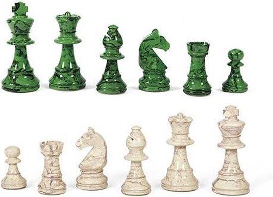 Afbeelding van het spel Dal Negro Schaakstukken N.3 75 Mm Hout Groen/wit