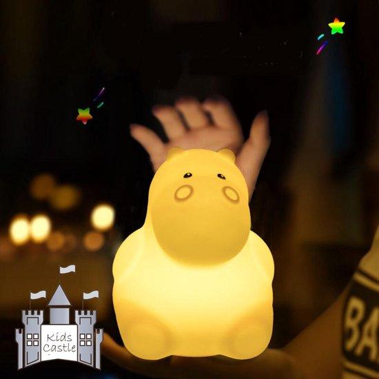 Kids Castle meerkleurig LED Nachtlampje Nijlpaard - Accu - Oplaadbaar
