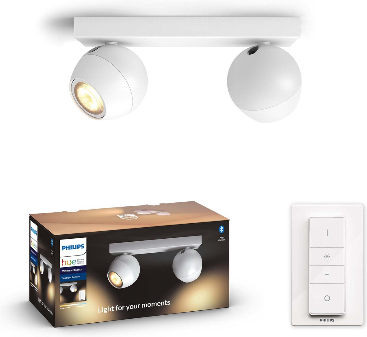 Philips Hue - BUCKRAM White 2x5.5W - White Ambiance - Bluetooth Included Dimmer