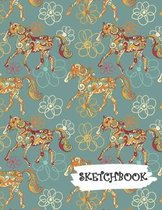 Sketchbook: Colorful Abstract Artist Horse Fun Framed Drawing Paper Notebook