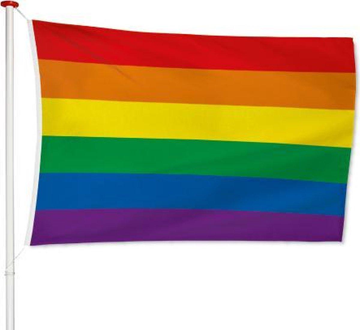 Regenboog Vlag 100x150cm   LGBT Gay Pride Vlag   Rainbow Flag   Regenboogvlag   Regenboog Decoratie