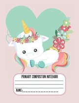 Primary Composition Notebook: Cute Baby Unicorn Composition Notebook for Girls (7.44x9.69) Dotted Midline