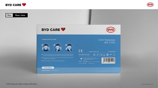 BYD CARE Wegwerp mondkapjes – 3 laags – 50 stuks – Niet medisch