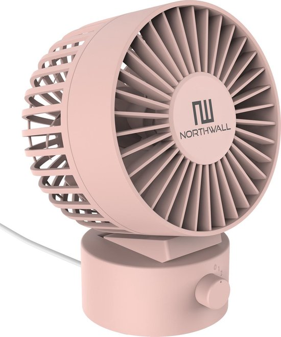 Northwall Mini USB Ventilator - Tafelventilator Roze - Stille Mini Fan - Retro Bureau Ventilator - Klein, Stil en Geruisloos - Dual Motoren - Kantelbaar - 2 Snelheden