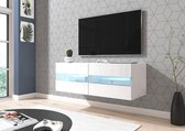 TV Meubel Zwevend Wit 100 cm - Inclusief Led Verlichting - Modern Design