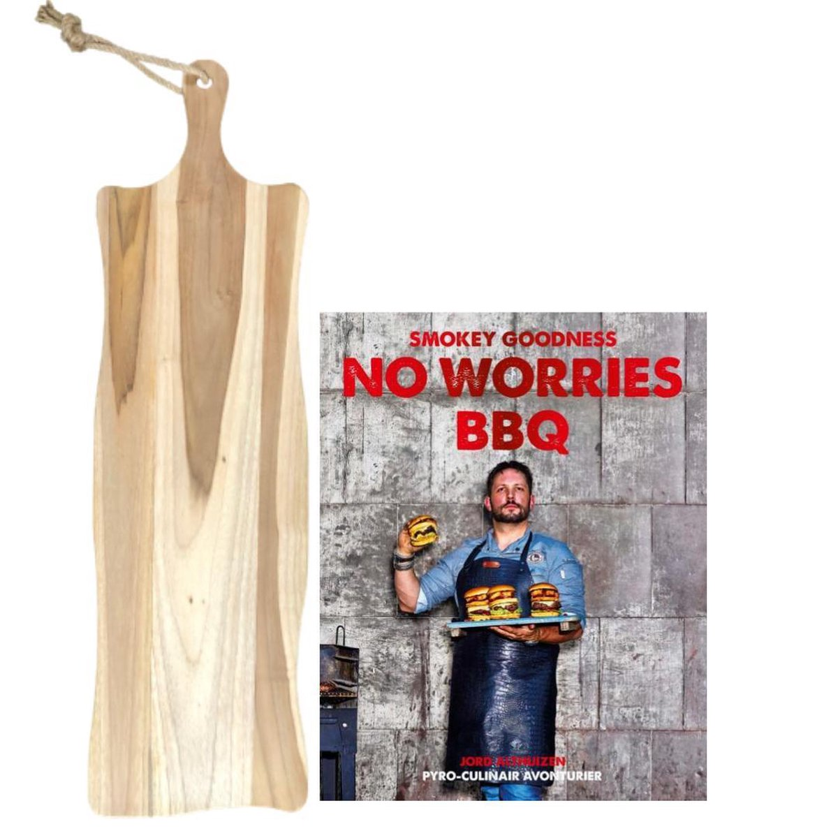 Mannen cadeaupakket - BBQ boek - houten plank - Smokey Goodness - No Worries BBQ - hamburgers kookboek - Vaderdag geschenk - mannen cadeautjes geschenkset - mannen cadeautjes - snijplank groot - cadeau man verjaardag