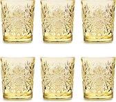 Libbey Drinkglas Hobstar Pale Yellow – 355 ml/ 35,5 cl - 6 stuks - vintage design - vaatwasserbestendig - hoge kwaliteit