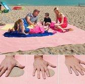 Zandvrij Strandlaken – 200 x 200 cm – Roze- Strandhandoek - Beachmat - Geen last van zand - Strandkleed - Stranddoek - Anti zand