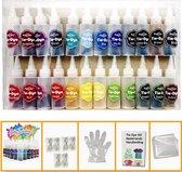 Tie Dye Kit Tiedye Verf Set Textielverf Poeder 24 Kleuren 120ml - Shirt Tie Dye Set Incl Touw & Handschoenen – Tie Dye Paint - Kindvriendelijk - Hoge Kwaliteit - Hobbypainting.nl®