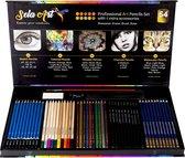 Kleur Potloden Set- Kleur & Tekendoos- 54 Stuks Incl Liniaal- Kwast & Gum- Teken Set voor Kinderen & Volwassenen