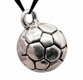 Voetbal ketting- Jongens- Meisjes- Koord- Zwart- Zilverkleur- Metaal- Sport- Koord ketting