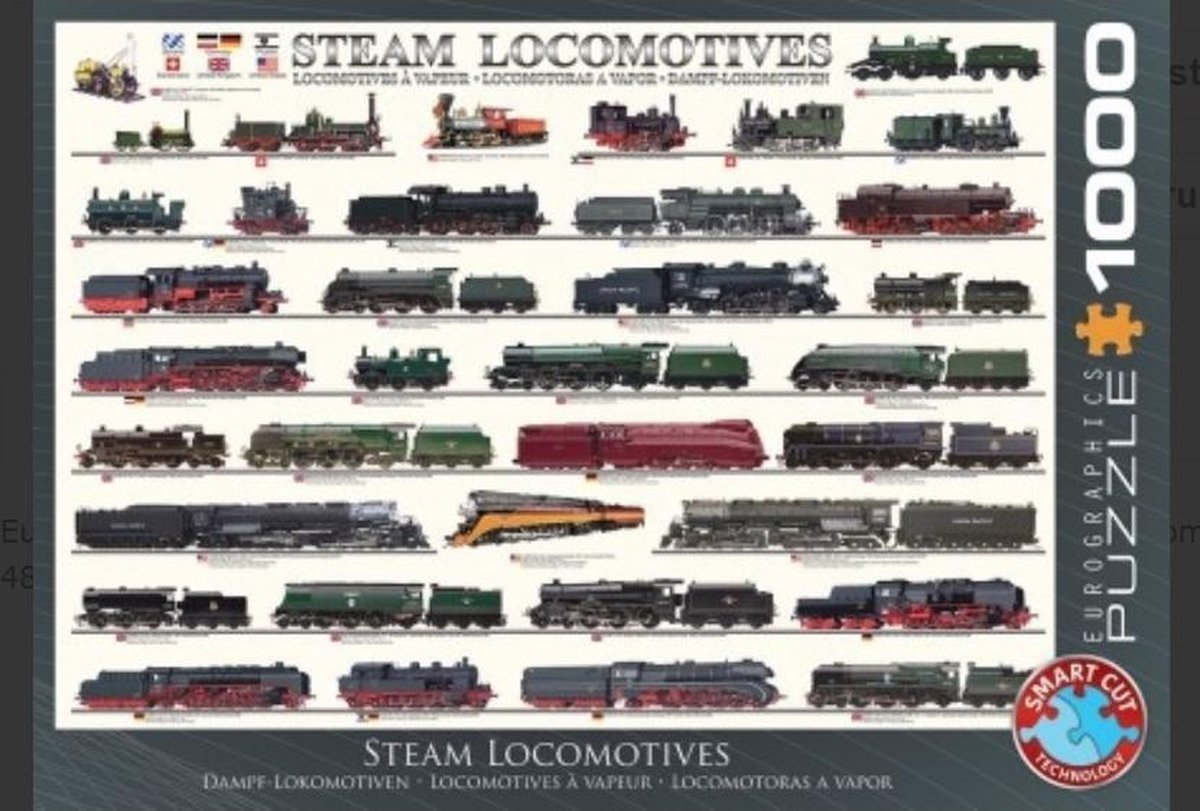 Puzzel 1000 stukjes - Steam Locomotives