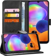 Samsung A31 Hoesje - Samsung Galaxy A31 Hoesje - Book Case Leer Wallet Zwart