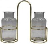 Viv! Home Luxuries glazen vaasjes in metalen houder - 27cm - topkwaliteit - Goud