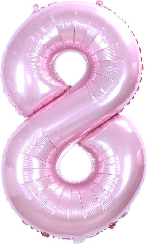 Folie Ballon Cijfer 8 Jaar Roze 36Cm Verjaardag Folieballon Met Rietje