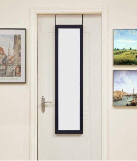 lange deur spiegel hangend | deurspiegel | Grote Hangende Visagie passpiegel Met Lijst & Deurhaak | zwart frame