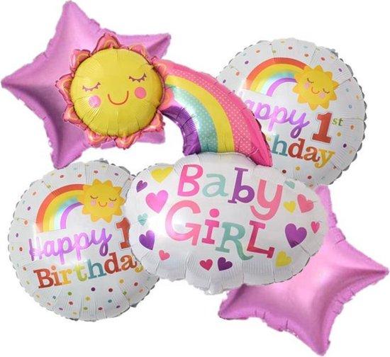 Verjaardags-Set(5Stuks)-1e Jaar-OneYear-MEISJE-Folie-Ballonnen 1 + 1 gratis