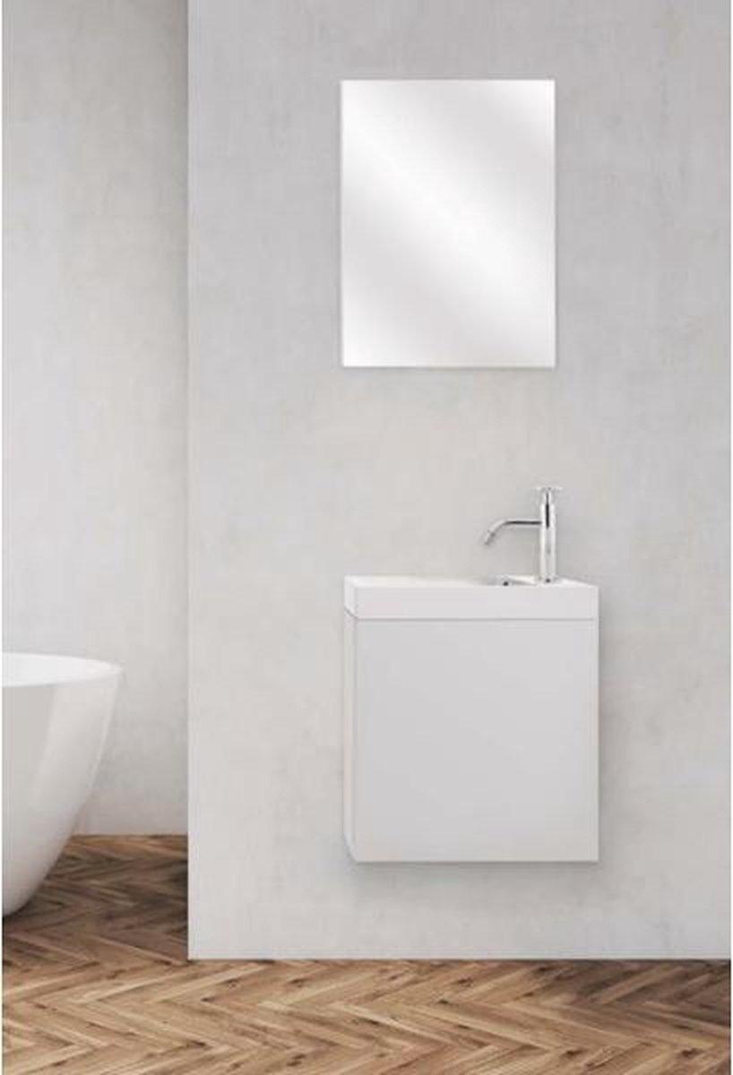 Nemo Go Frida toiletmeubel 20x40x40cm wit met spiegel 200 x 380 x 470 mm handwasbak hoogglans 200 x 400 x 122 mm