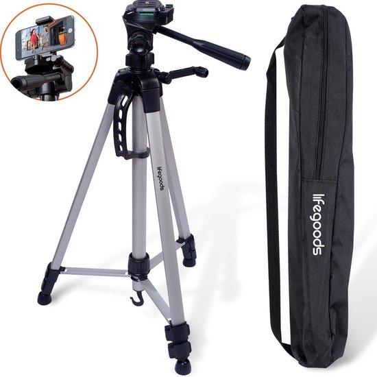LifeGoods Tripod Statief - (Spiegelreflex) Camera of Telefoon - Incl. Smartphone Houder - Zilvergrijs