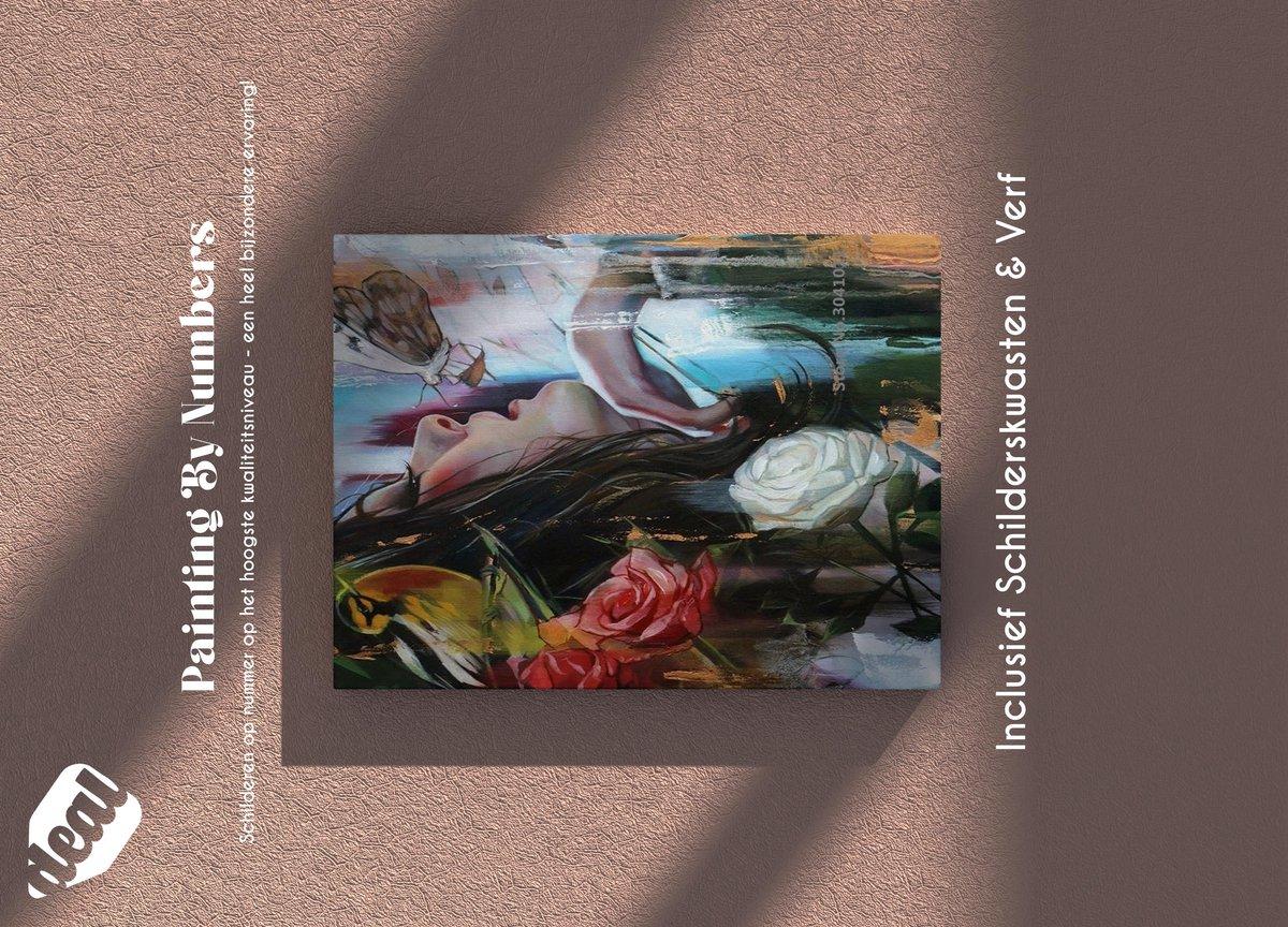 Deal Diamond Painting Schilderen Op Nummer Voor Volwassenen Inclusief Lijst, Canvas, Schilderskwasten & Verf - 40 x 50 cm - Butterfly
