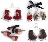 Vogeltjes, Schaatsen en Sneeuwpoppen Vilten Kerstboomhangers - set van 8 - stijlvolle kerstboomdecoratie - Fair Trade en Handgemaakt in Nepal